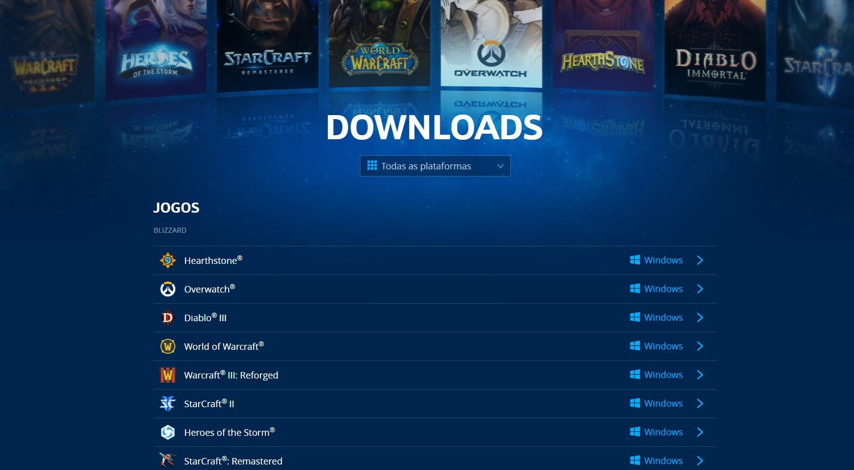 Download jogos Blizzard
