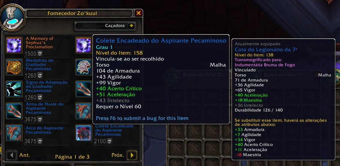 WoW Shadowlands - Equipamentos de PvP com upgrade 01