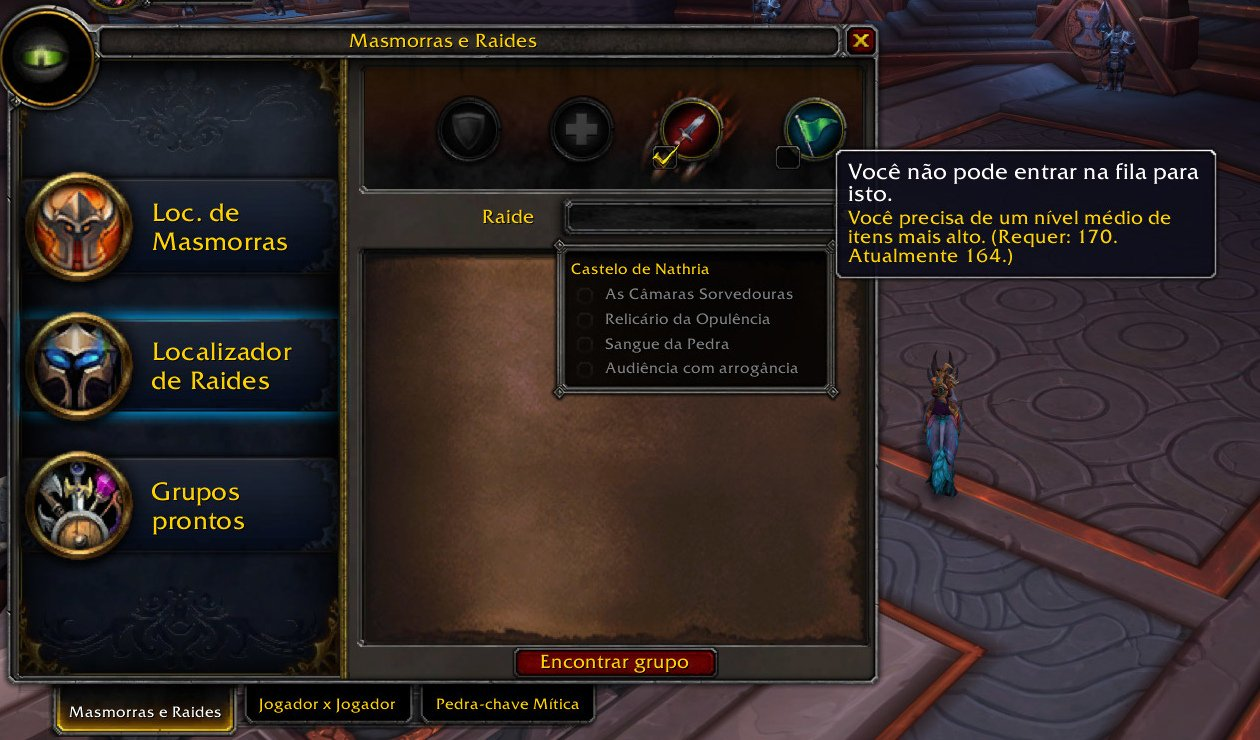 Menu de alas do localizador casual de grupos do WoW
