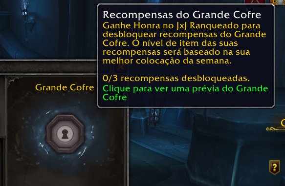 Interface de recompensas do Grande Cofre